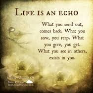 life is an echo, you reap what you sow
