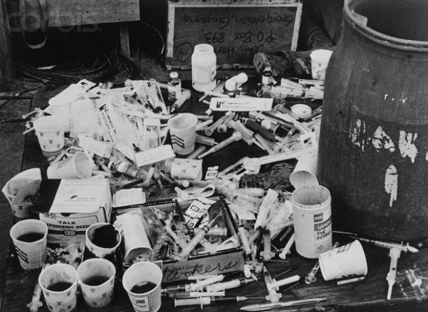 ca. November 18, 1978, Jonestown, Guyana --- Pile of Syringes and Paper Cups --- Image by © Bettmann/CORBIS